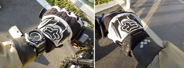 バイク用リストバンドを装着