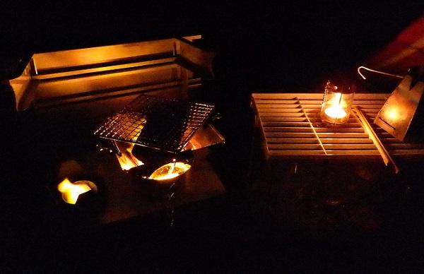 渚園キャンプ テント前室での調理