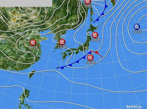 潮見坂海岸 釣行当日の天気図