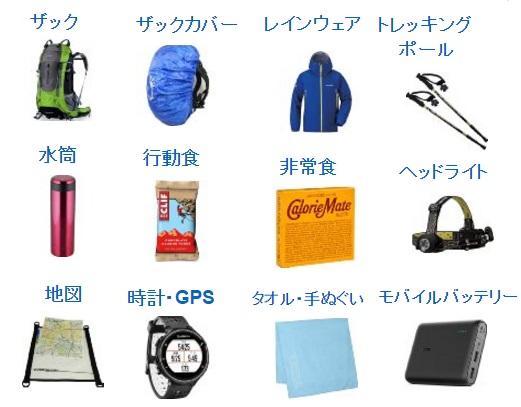 登山の持ち物・必需品一覧