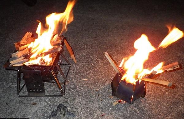 バーゴとロゴスのピラミッドグリルでの焚き火