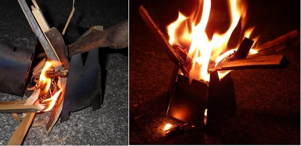 バーゴのウッドストーブで焚き火