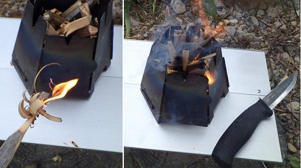 バーゴのウッドストーブに点火