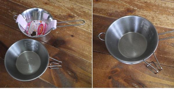 ダイソーの湯せんカップをシェラカップに改造1