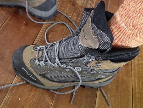 足先までしっかり登山靴の中に入れる