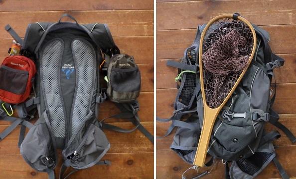 渓流釣りで使うバックパック