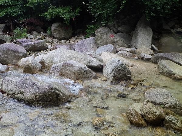 鎌ヶ岳の登山道入り口付近の沢