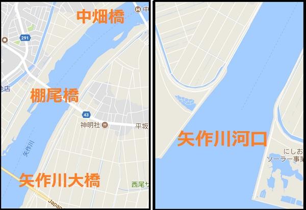 矢作川河口付近の釣りマップ