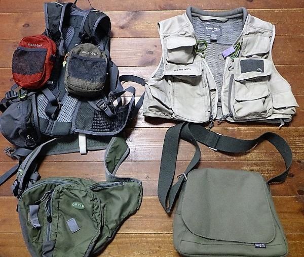 渓流釣りの装備 ベスト バッグ類
