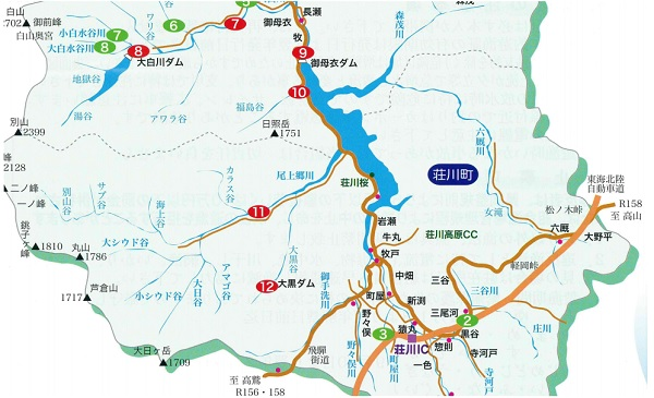 庄川 釣場マップ