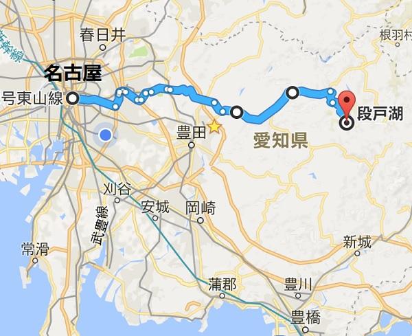 名古屋から段戸湖までの道のり