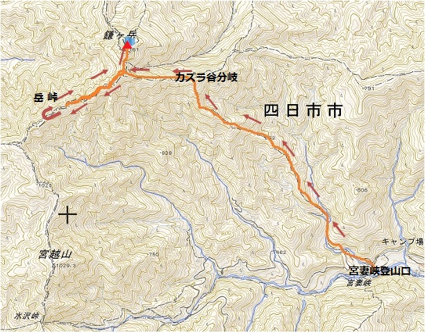 鎌ヶ岳 ルート 宮妻峡 カズラ谷