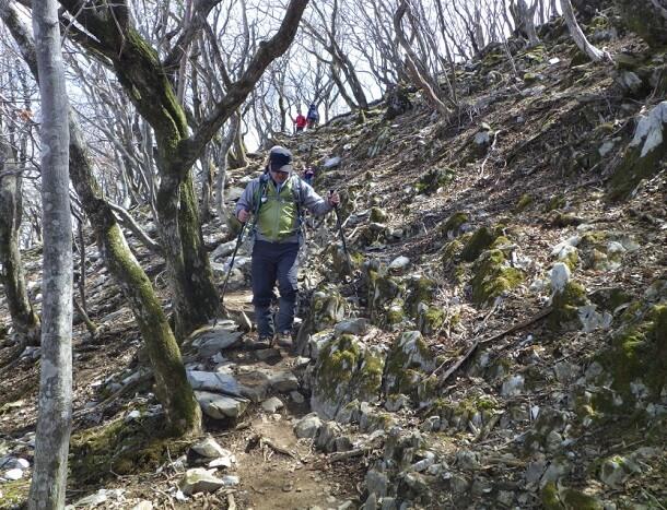 狭くなる登山道