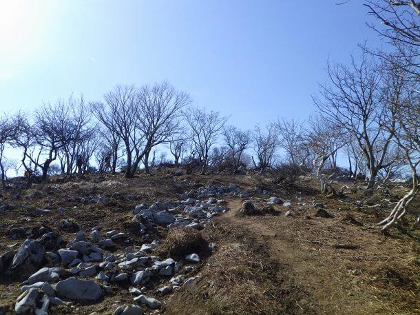 天狗岩への縦走路