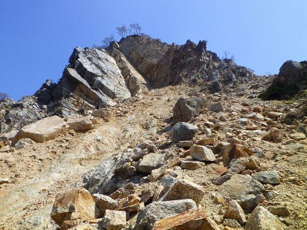 崩壊激しい三ツ口谷登山道