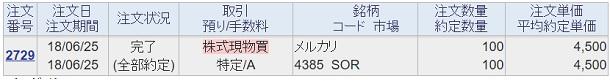 6月25日 メルカリ株 購入