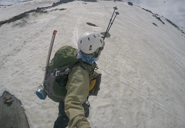 残雪登山 トレッキングポール
