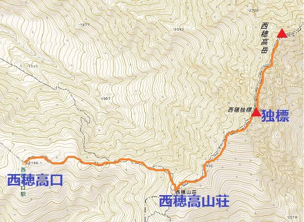 西穂高岳 日帰り登山 ルート