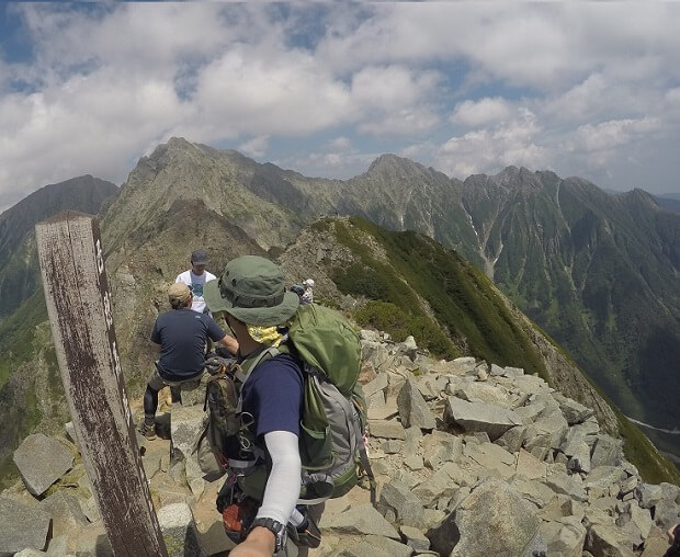 西穂高岳山頂からの眺め