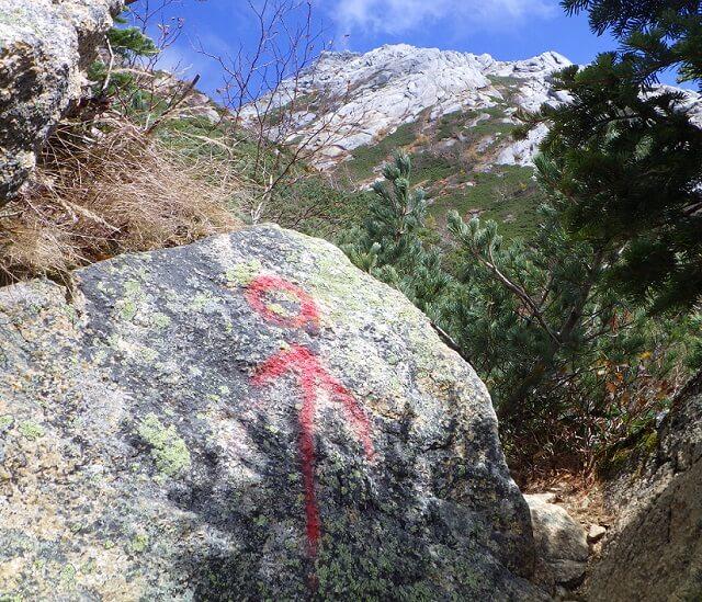 甲斐駒ヶ岳 直登コース マーキング