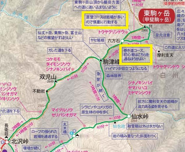 甲斐駒ヶ岳 直登コース マップ