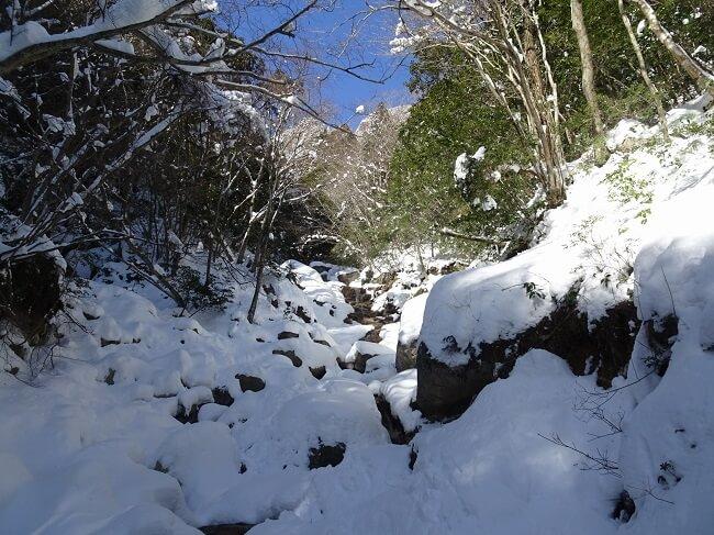 雪で覆われた御在所岳本谷