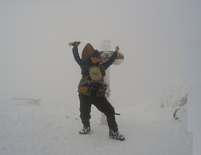 冬の伊吹山登山 登頂