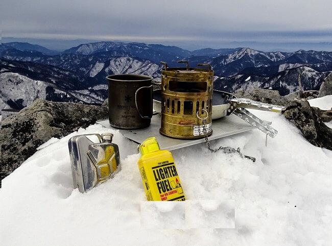 雪山でスベア123R 山頂メシ