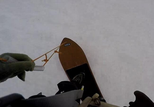 竜ヶ岳で雪板遊び