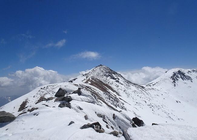 朝日岳から乗鞍剣ヶ峰への稜線