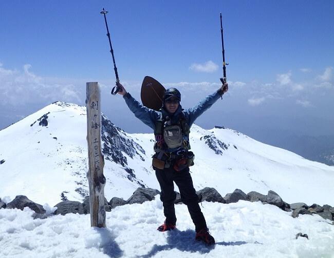 乗鞍岳 頂上 剣ヶ峰で記念撮影