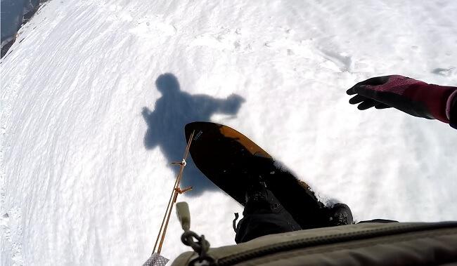 乗鞍岳 雪板で下山