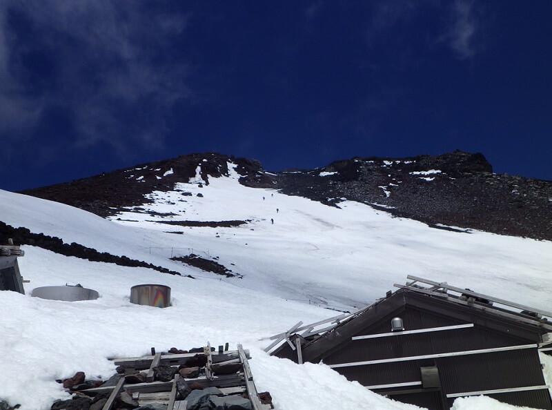 残雪期の富士宮ルートで富士山頂を目指す