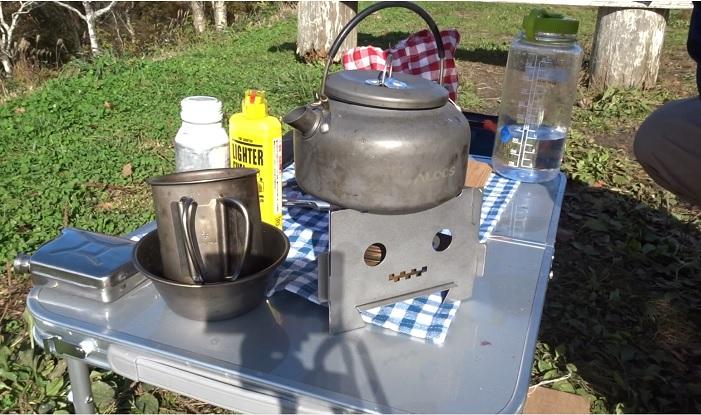 デルタ-Δエリート&アルコールストーブでお湯を沸かす
