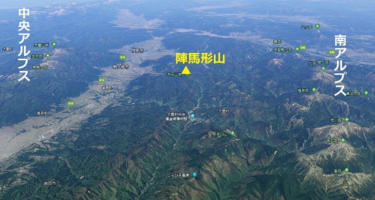 陣馬形山キャンプ場の位置と展望