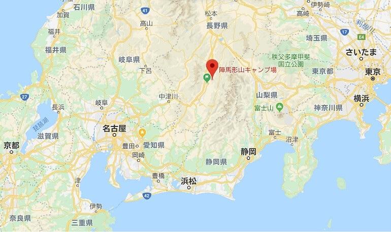 陣馬形山キャンプ場へのアクセス