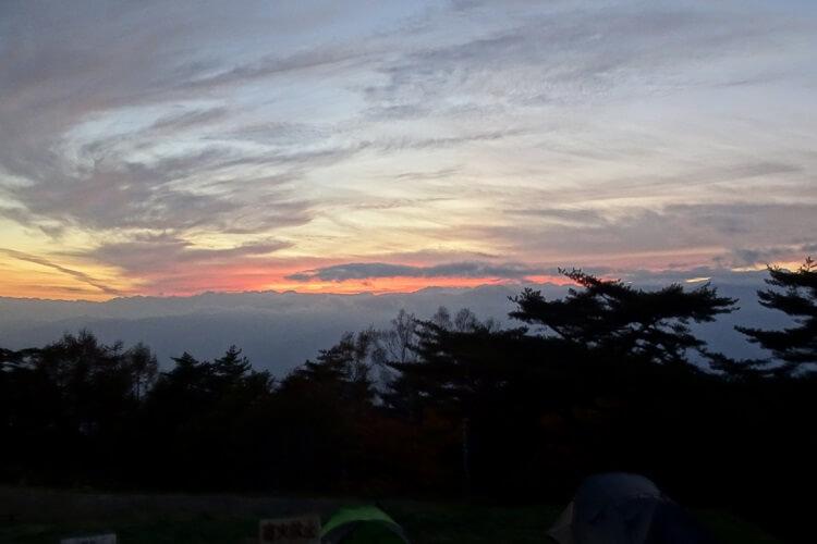 陣馬形山キャンプ場の夕陽