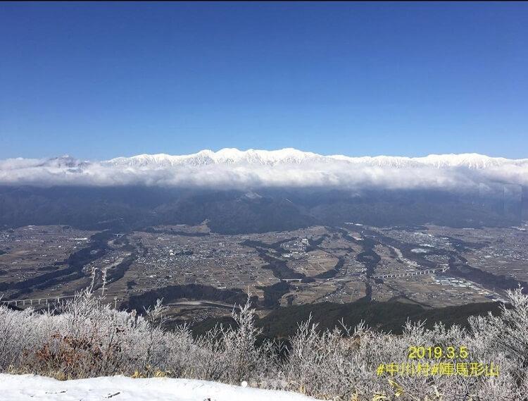 陣馬形山から見る中央アルプス 3月