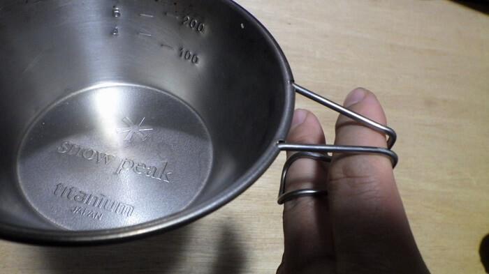 スノーピークのチタンシェラカップのハンドルは使いやすい