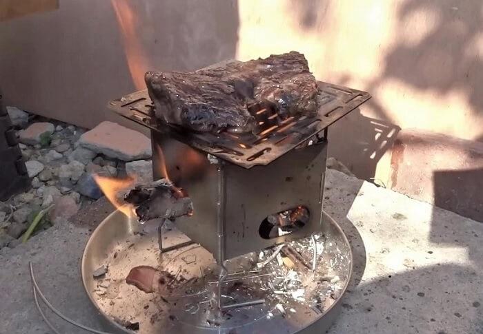 fファイヤーボックス ナノ 小枝を燃料にステーキを焼いてみた