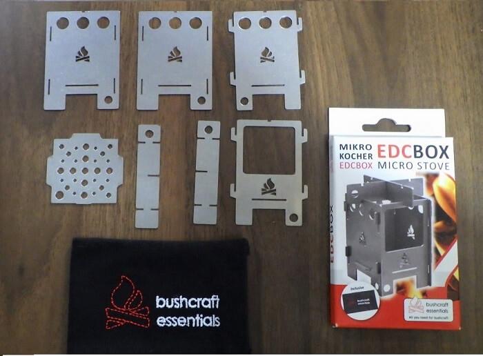 コンパクトな焚き火台BushBoxマイクロ ストーブ EDC BOXの構成パーツ