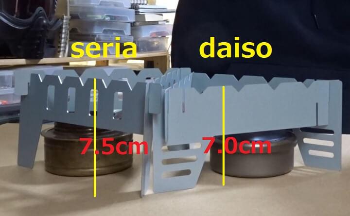 ダイソーvsセリア アルコールストーブ用五徳の高さを比較