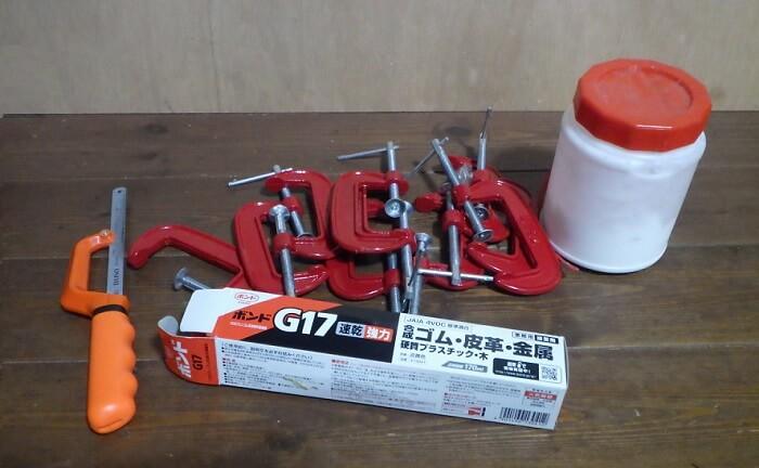 自作焚き火テーブルを使用するために使用した道具類