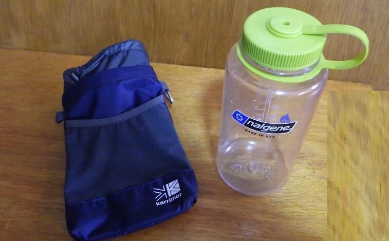 ナルゲンの1ℓボトルとカリマーのボトルホルダー